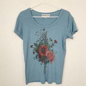 Wildfox Blue Floral Shirt Small